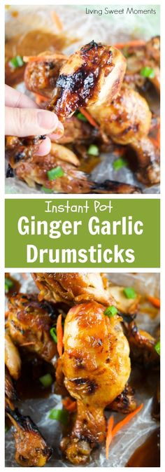 This instant pot Asian recipe for ginger garlic drumsticks is out of this world! Enjoy tender chicken in a sweet and sour sauce that's ready in no time. More instant pot recipes at http://livingsweetmoments.com via @Livingsmoments