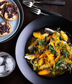 Australian Gourmet Traveller recipe for escabeche of sardines, saffron and tapenade by Donovan Cooke from The Atlantic, Melbourne.