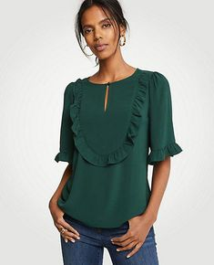 49894f78af9750 Shop Ann Taylor for effortless style and everyday elegance. Our Petite  Ruffle Bib Flutter Top is the perfect piece to add to your closet.