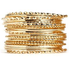 Gold Assorted Bangle Set ($13) ❤ liked on Polyvore featuring jewelry, bracelets, gold jewelry, gold jewellery, yellow gold bangle, gold bangles and yellow gold jewelry