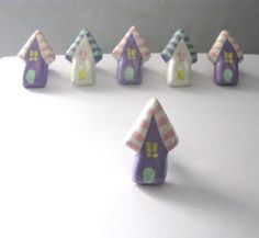 Little Lavender House Knob  painted metal drawer pull by Knobs, $7.00