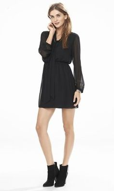 black long sleeve tie neck dress from EXPRESS