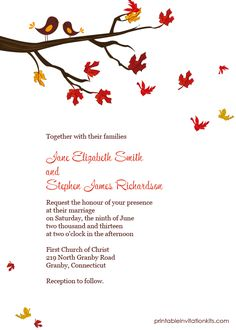 FREE PDF Downlaod. Autumn Lovebirds invitation. Template is very easy to edit and print at home.