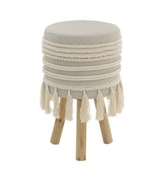 Wooden / fabric stool in creme color with tassels. A both elegant and useful item for your home. Wooden Stools, Floor Cushions, Flooring, Furniture, Collection, Home Decor, Design, Wooden Bar Stools, Decoration Home