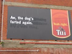 Tui have brand awareness and recognition down with these examples all over NZ - simple, rememberable and funny! Dog Farts, New Zealand Houses, Maori Art, Kiwiana, Beer Brands, All Things New, Billboard, Pet Birds, Advertising