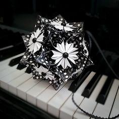 Musical Notes Flower Ornament | Kusudama Flower Ball | Pomander | Origami Flower | Home Wedding Party Decor | Music Student Keepsake Gift by LilominaCreations on Etsy https://www.etsy.com/listing/228593323/musical-notes-flower-ornament-kusudama