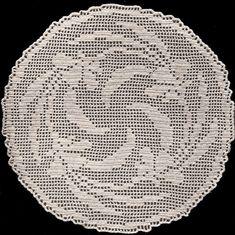 Vintage Doily Pattern | Vintage Crochet Flower Motif Round Filet Doily Pattern