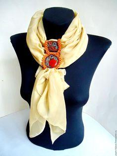 """Купить Шарф-галстук """"Этно"""" - золотой, однотонный, модный аксессуар, шарф женский, шарф-галстук"""
