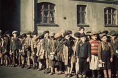 Lodz, Poland, Children standing in line for food. Almost all will be murdered by…