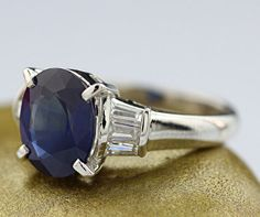 Catawiki online auction house: High-quality sapphire-diamond ring, 3.06 ct in 900 platinum