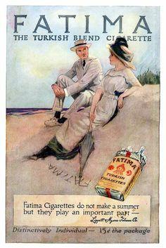 Liggett & Myers Tobacco Co. / Fatima Turkish Blend Cigarettes vintage advertisement from New Story Magazine, Retro Vintage, Vintage Ephemera, Vintage Prints, Old Poster, Poster Ads, Poster Vintage, Vintage Advertising Posters, Old Advertisements, Vintage Cigarette Ads