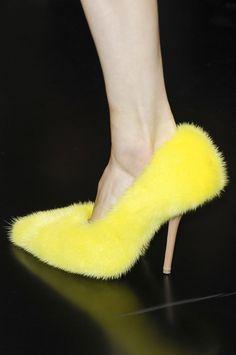 Yellow furry stiletto by Celine