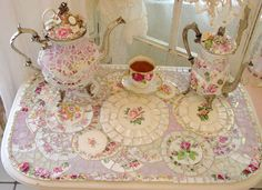 Mosaic Tea Set and table.  WOW!