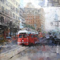 Bay City Red by Mark Lague Oil ~ 40 x 40