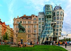 DECONSTRUCTIVISM; Monument to Alois Jirasek and the Dancing House [rear right] in Prague