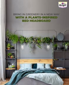 Bring nature close to you. Add some indoor plants over your headboard for fresh oxygen & enhance the look of your bedroom wall