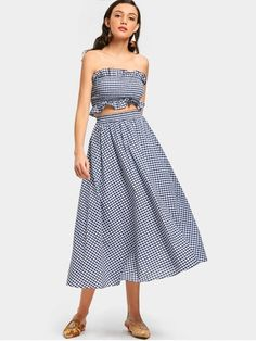 27f0ab615ba7 Shop for Smocked Checked Bandeau and Flare Skirt Set CHECKED: Two-Piece  Outfits 2XL
