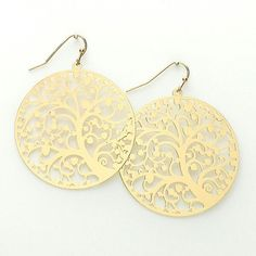 New Floral Tree of Life Filigree Disk Earrings