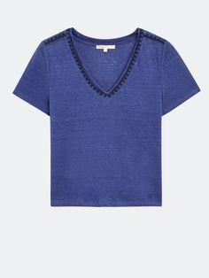 Tee-shirt en lin avec détails brodés - Tee-Shirts - Maje.com