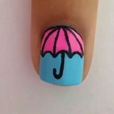 "Cute umbrella design by @GabbysNailArt Song: ""Umbrella"" by. Rihanna☔"
