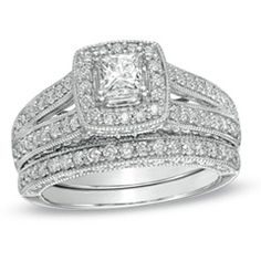 Princess diamond framed in accent stones | Wedding Sets