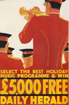 Daily Herald poster by Tom Purvis, 1935. Vintage trumpet