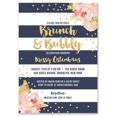 """""""Krissy"""" Navy Stripe Brunch + Bubbly Bridal Shower Invitation"""