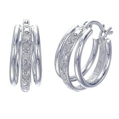 Sterling Silver Diamond Hoop Earrings 110 CT -- Click image for more details. (This is an affiliate link) #Earrings