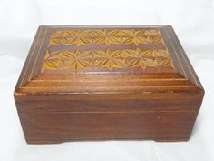 Vintage Hand Carved Wood Box 80's Russian Folk Art Made In USSR Red Sticker
