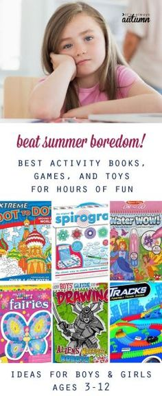Tired of trying to keep your kids entertained over summer break? Check out this great list of activity books, games, and toys that will keep kids busy and happy without an adult's help!
