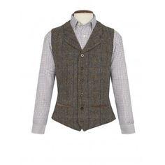 SCOTTISH HARRIS TWEED Homme Gris Avec Rouge Overcheck Tweed Cravate 100/% laine