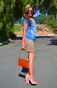 Summer Style  ::  Target Style vintage style flag tee ::  Foreign Exchange lace mini skirt  ::  Tory Burch purse  ::  Chinese Laundry shoes  ::  GAP mirrored aviators