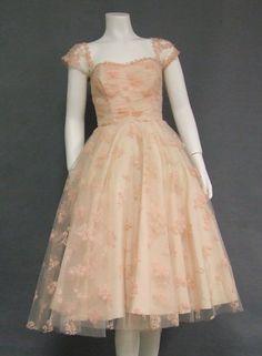 Floral Tulle 1950's Prom Dress w/ Flattering Shoulder Detail
