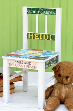 Learn how to decoupage a simple wood chair! This decoupage chair was created for a book lover - use any graphics you like with this method. Wooden Chair Makeover, Wooden Chair Plans, Old Wooden Chairs, Chair Design Wooden, Old Chairs, Cafe Chairs, White Chairs, Home Depot Adirondack Chairs, Wooden Adirondack Chairs