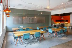Love the configuration, pop of colors without over doing it. Interior - Weld co-work space, Dallas via Foundry Co.