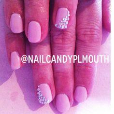 Nails nail art shellac Aztec acrylic pink polka white Instagram: @nailcandyplymouth