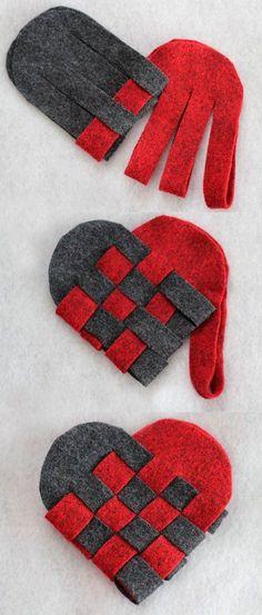 manualidad romántica para hacer corazones con fieltro trenzado