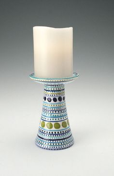 Candle Pedestal / Flower Vase Blues and Greens by owlcreekceramics, $28.00
