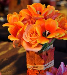 Love the bright colors for this fall centerpiece!