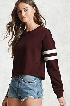 Raw-Cut Varsity Sweatshirt F21, Forever 21 Outfits, Cute Outfits, Teen  Outfits b57476b640