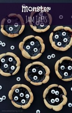 Quick and easy Halloween recipe for kids - fun monster jam tarts from Eats Amazing UK - fun Halloween party food idea