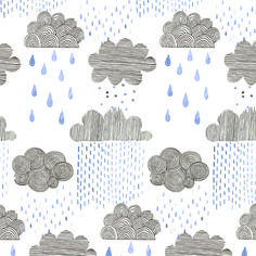 Rainy day!  Mijksje | ontwerp | design | illustration | cloud | rain | wolk | regen | pentekening | drawing | handgetekend | handmade | aquarel | waterverf | watercolor