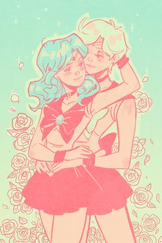 Hi! Can you draw Haruka and Michiru from Sailor Moon with #4 (doesn't matter if they're in their sailor forms or not~)