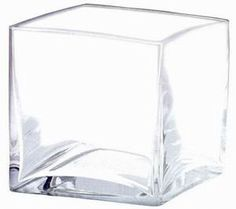 """Clear Glass Cube Vase<br>4"""" Wide x 4"""" Tall"""