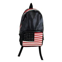 Purple Leopard Boutique - Black Faux Leather Backpack American Flag USA School Bag, $44.00 (http://www.purpleleopardboutique.com/black-faux-leather-backpack-american-flag-usa-school-bag/)