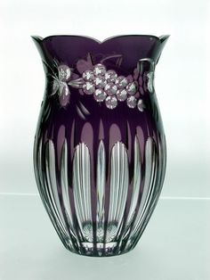 Lead Crystal Vase manufactured in Hungary by Ajka Crystal _____________________________ Reposted by Dr. Veronica Lee, DNP (Depew/Buffalo, NY, US) Crystal Glassware, Crystal Vase, Cut Glass, Glass Art, Purple Glass, Carnival Glass, Glass Collection, Antique Glass, Vintage Glassware