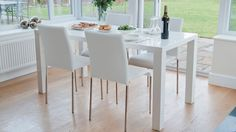 Modern White Dining Set with Stackable Dining Chairs