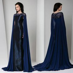 Tony Ward Couture dress is midnight blue with a delicate patterned sheath style underdress while the cape portion of silk georgette looks like something from Game of Thrones in its sultry hand and simplicity. Cape Dress, Dress Up, Pretty Outfits, Pretty Dresses, Couture Dresses, Fashion Dresses, Mode Glamour, Bridal Cape, Medieval Dress