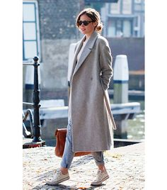 @Who What Wear - Outfit Inspiration: Christine Reehorst of Fash n Chips     Dress down a structured coat with a pair of crisp sneakers.     Get The Look: John Lewis Hobbs Daisey Coat ($370) in Gray and Citizens of Humanity Dylan Destroyed Loose Fit Jeans ($238) in Love Worn