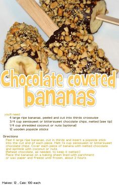 chocolate covered bananas -healthy dessert other posters asked if you can can use cocoa (no sugar) and melted coconut oil instead of melted chocolate Melt Chocolate In Microwave, Chocolate Dipped Bananas, Melted Chocolate, Frozen Chocolate, Chocolate Chips, Healthy Desserts, Delicious Desserts, Yummy Food, Healthy Brownies